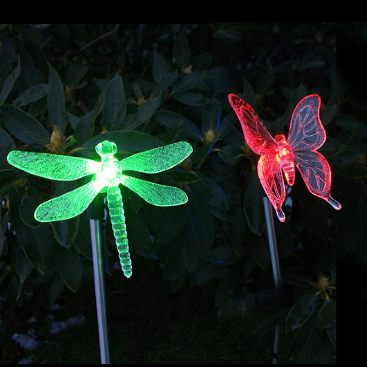 CST Lighting Pack of 2 Solar Color Changing LED Light Lawn Garden Yard Stakes-Dragonfly & Butterfly