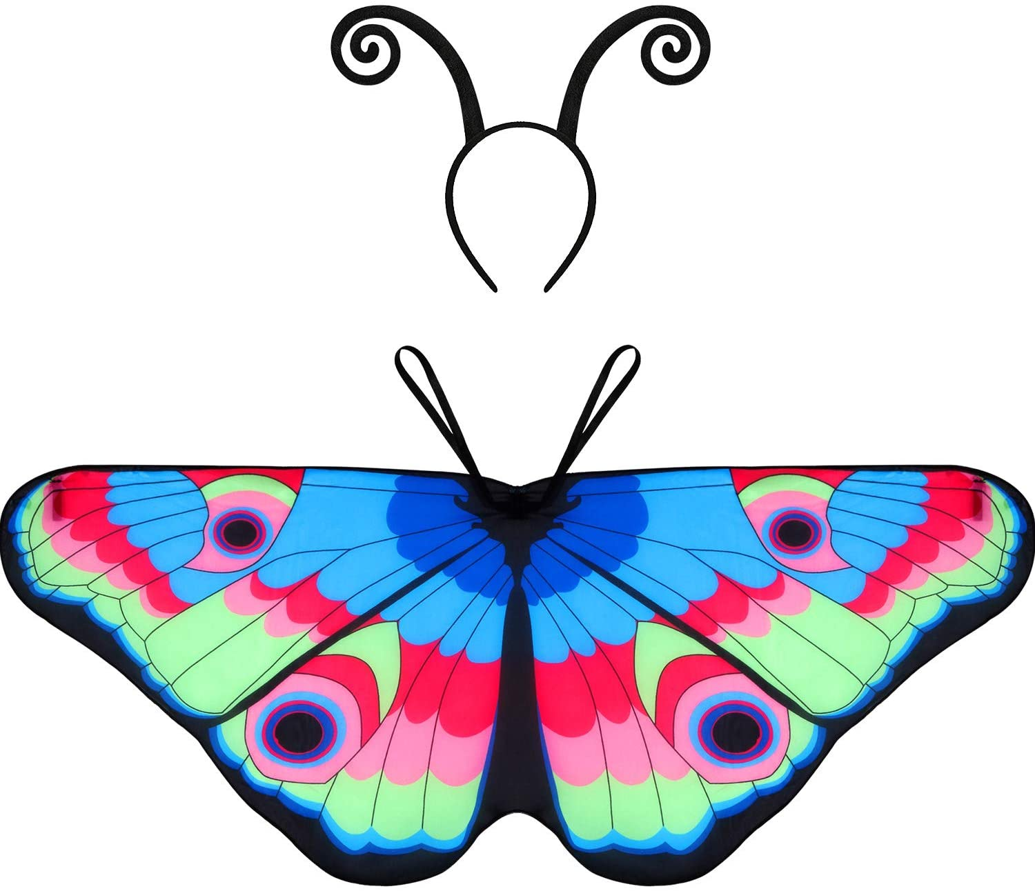 Blulu Halloween Fabric Butterfly Wings Shawl Fairy Ladies Cloak with Headband or Mask (Color D-1, Child D-1)