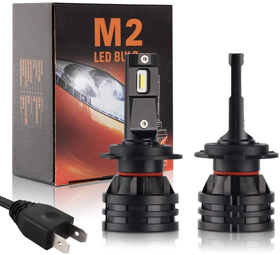 H7 LED Headlight Bulbs Extremely Bright 8000 Lumens Waterproof LED Headlight Conversion Kit 60W 6500K Two-year warranty,BraveWAY M2 Series