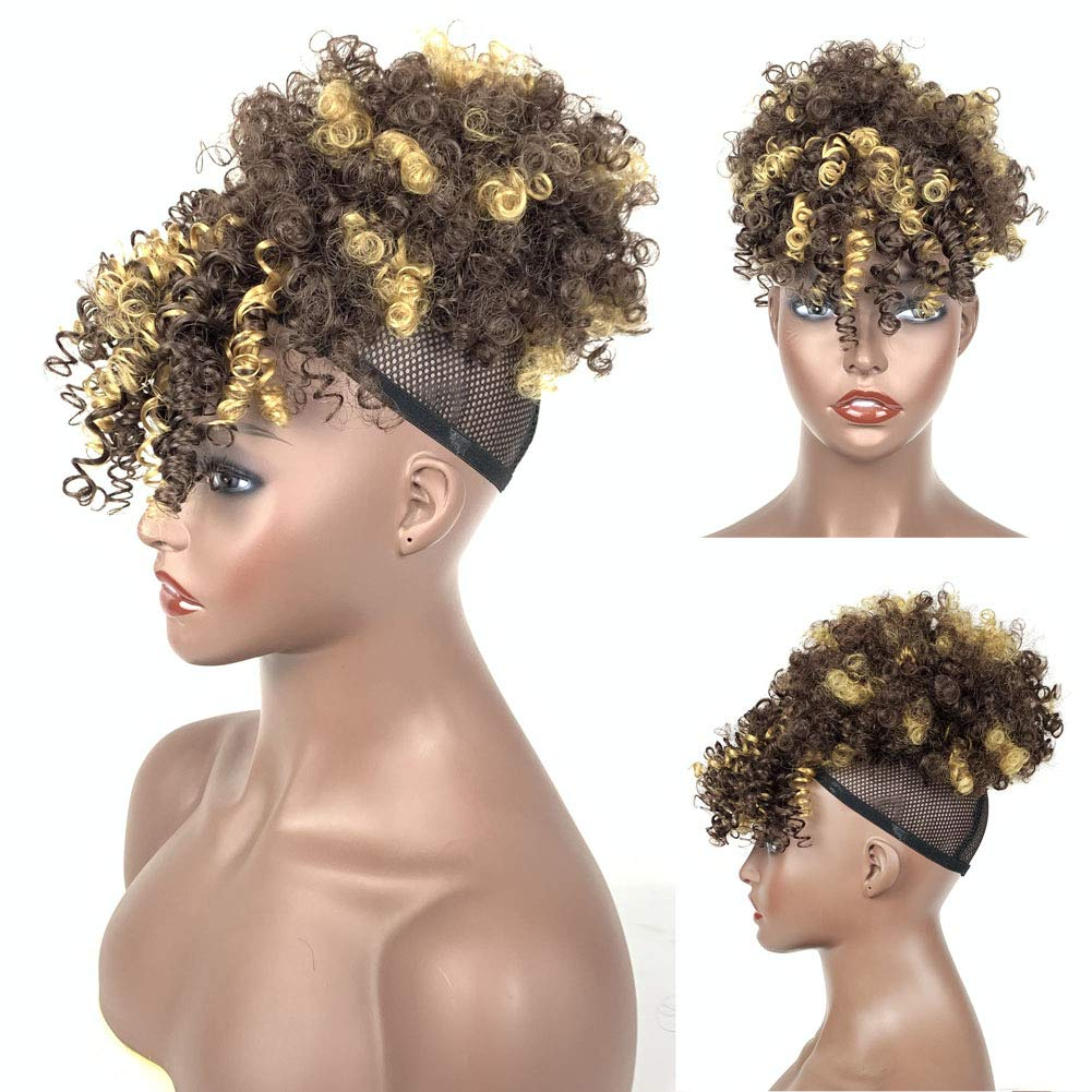 Afro High Puff Bun With Bangs Mix Brown And Gloden Color Short Afro Kinky Curly Hair Bun Drawstring Ponytail Pineapple Updo Ponytail With Clips Hairpieces Wig Wrap Updo Hair Extensions For Women