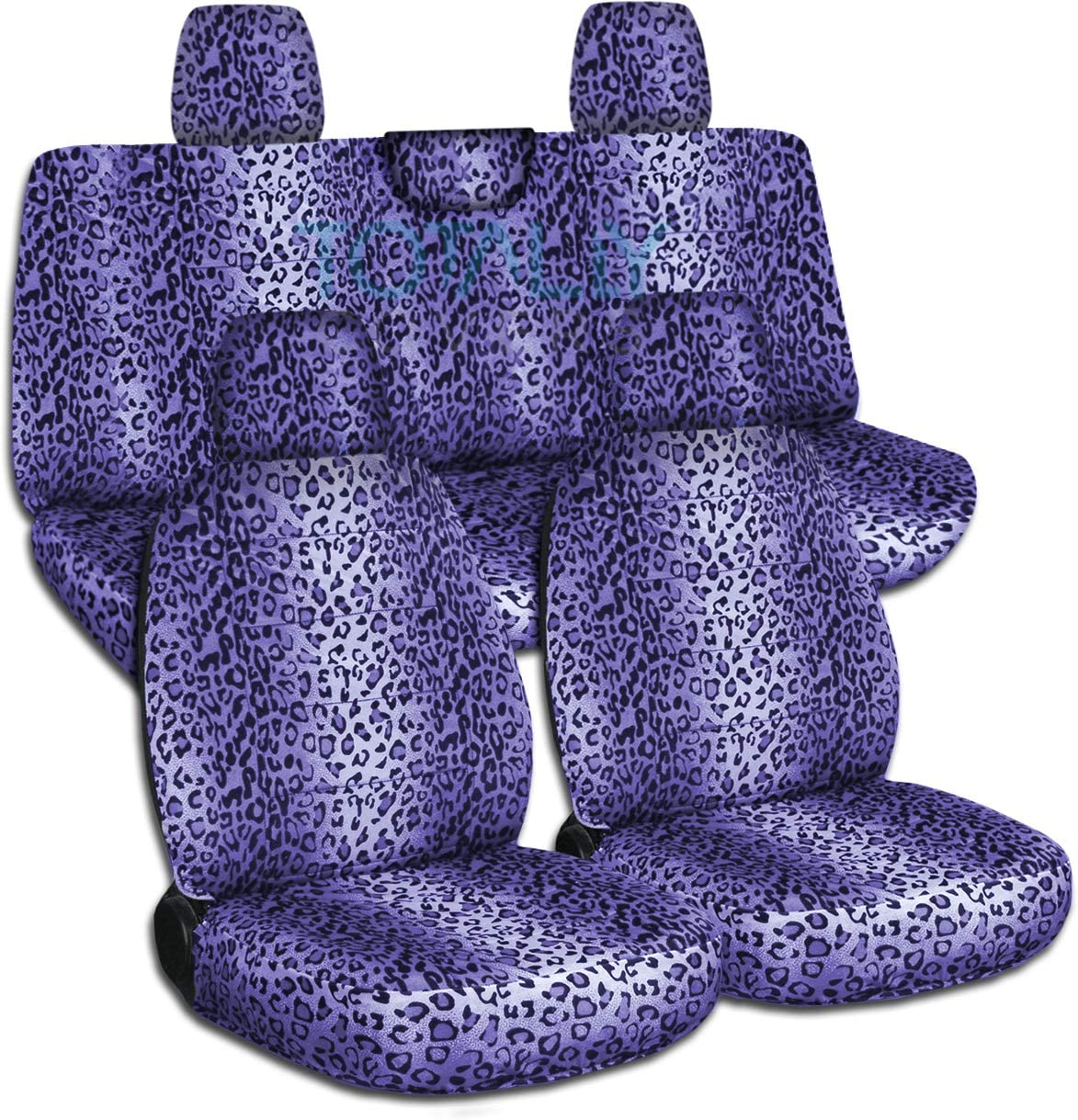 Totally Covers Compatible with 2018-2020 Jeep Wrangler JL Animal Print Seat Covers: Purple Leopard - Full Set: Front & Rear (29 Prints) 2-Door/4-Door Solid/Split Bench Back w/wo Armrest/Headrest