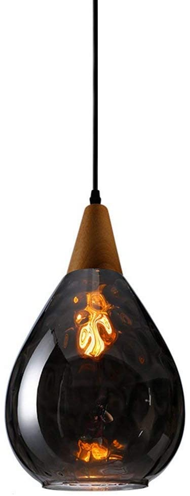 SkyTalent Modern Industrial 1-Light Wood Handblown Glass Pendant Light, Adjustable Cord Farmhouse Hanging Ceiling Lighting Fixtures for Kitchen Island Dining Room Club Hallway (Somke Gray)