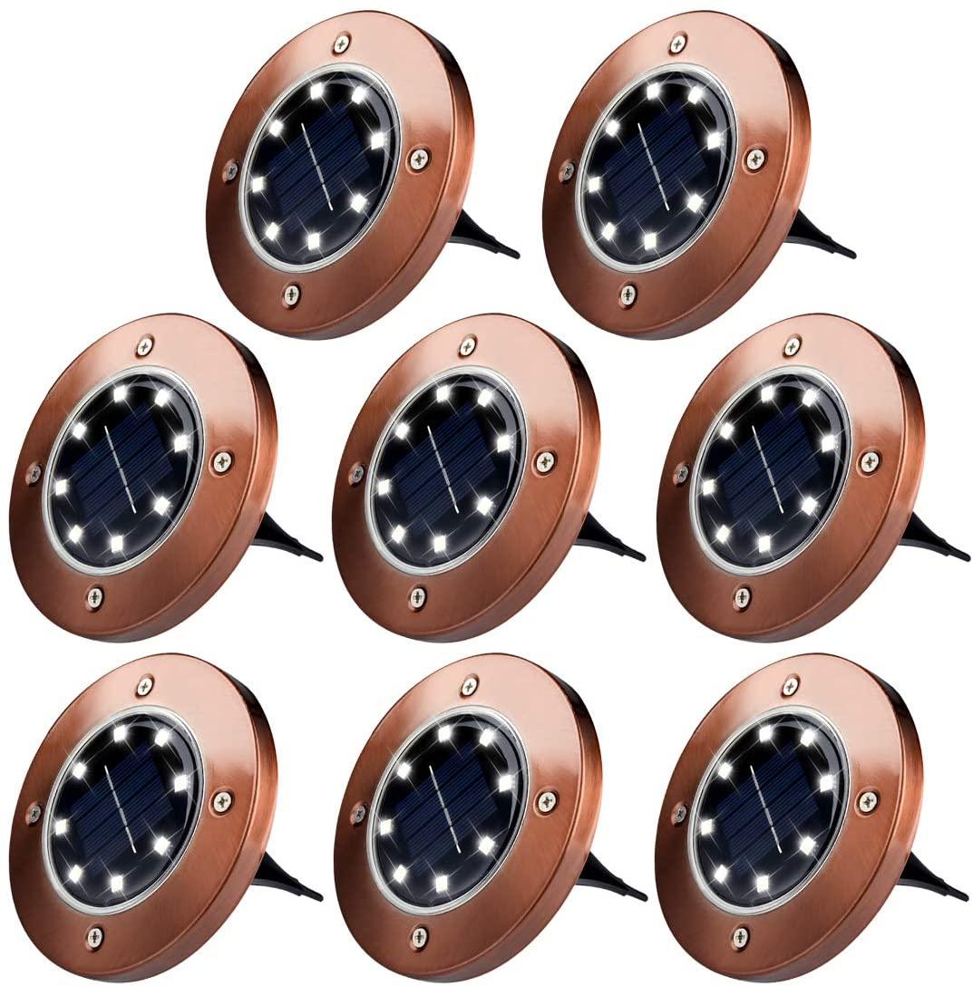 CHRUNONE Solar Ground Lights, 8 LED Solar Disk Lights for Outdoor Decorative Garden Yard (White Light)