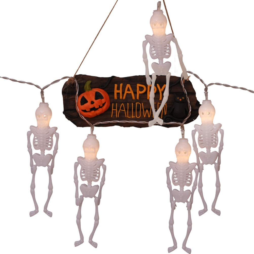 Insuwun Halloween Skeleton String Lights Battery Operated Fairy Lights String for Halloween Party Holiday Decorations