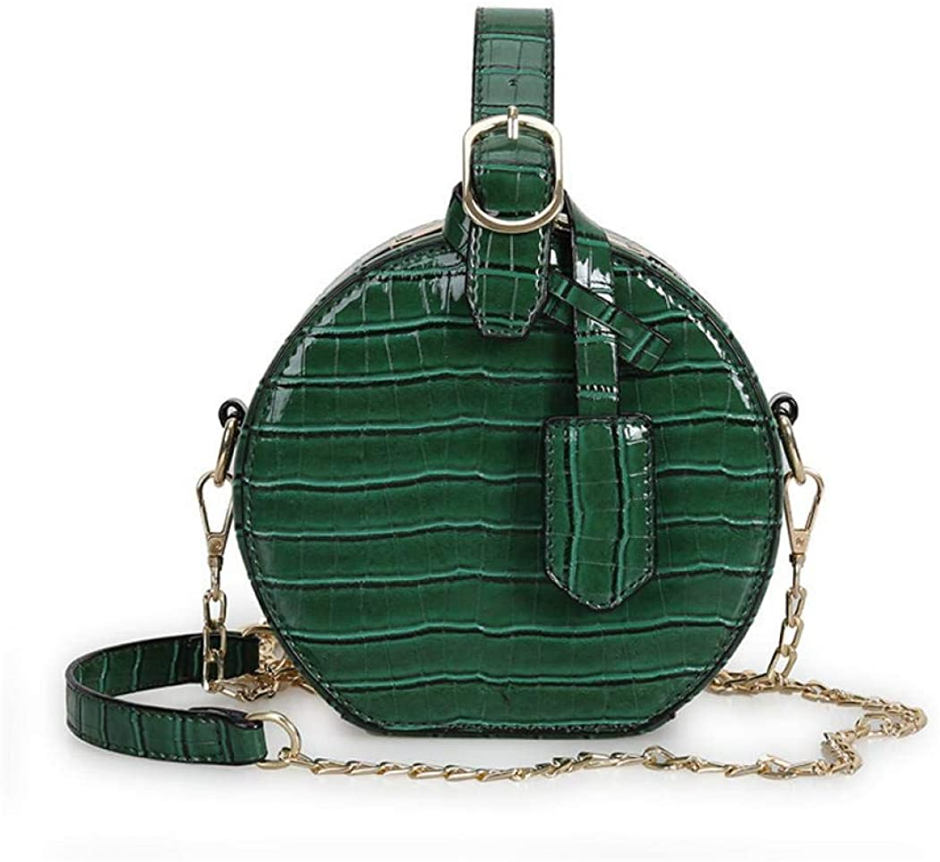 Canteen Purse Round Crossbody Bag for Women Leather Circle Purse Clutch with Handstrap