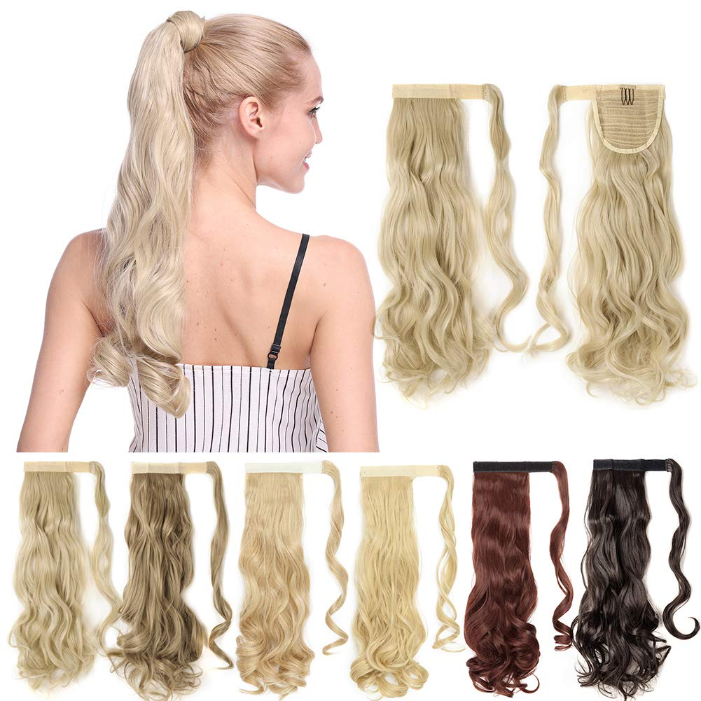 S-noilite Long Wrap Around Ponytail Extension Magic Paste One Piece Pony Tail Hair Extensions Synthetic Fibre Ponytails Hairpiece for Women Girls - 24 Inch Curly Ash Blonde Mix Bleach Blonde