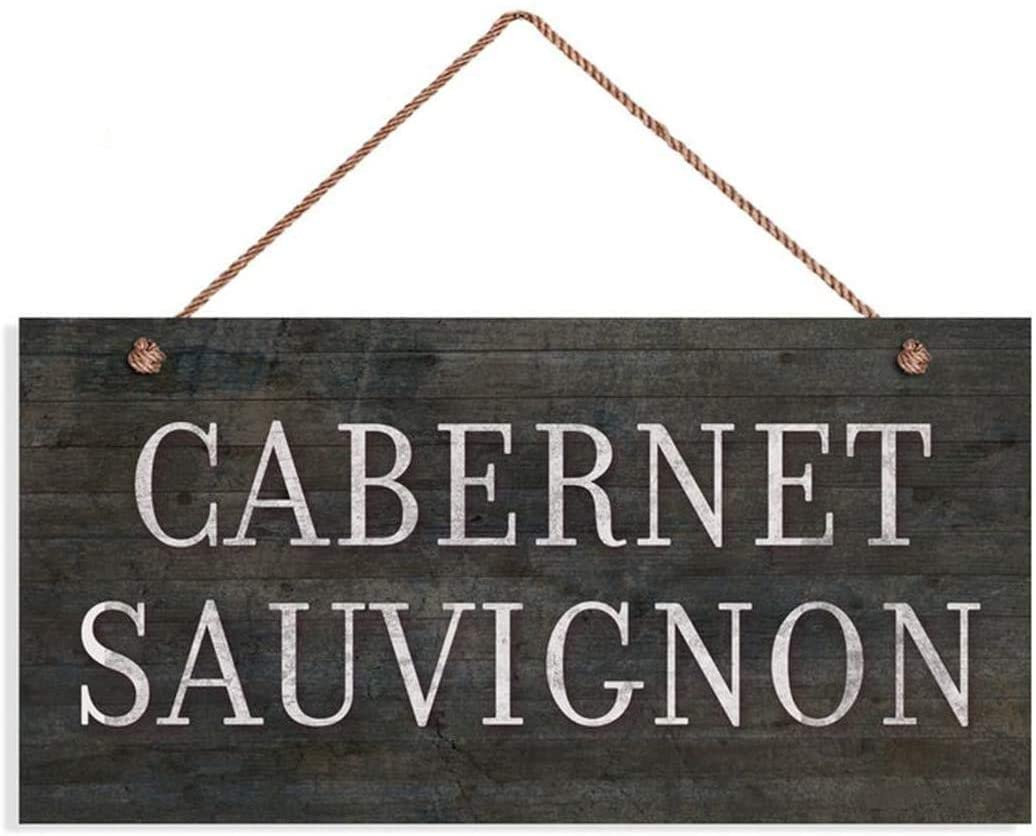 MAIYUAN Cabernet Sauvignon Wine Sign, Distressed Wood Style, 10x5 Sign, Plaque, Tuscan Decor, Rustic Wine Bar Sign(KJF1151)