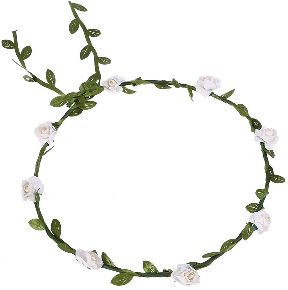 Flower Wreath Headband Crown Halo Floral Garland Bridal Flower Garland for Wedding Party Festivals