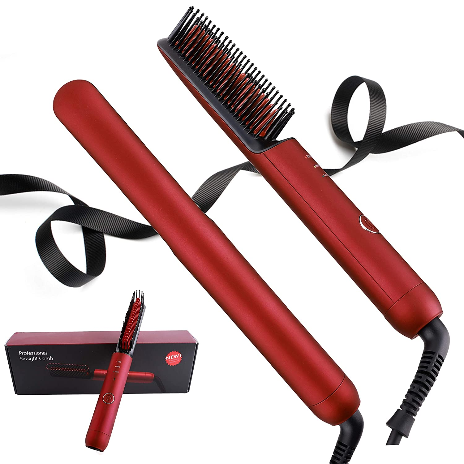 Hair Straightener Brush–Negative Ionic Hair Straightening Comb Electrical Hot Comb 30s Fast Heating & 3 Temp Settings & Anti-Scald, Professional Straightening Comb for Salon & Home (Red)