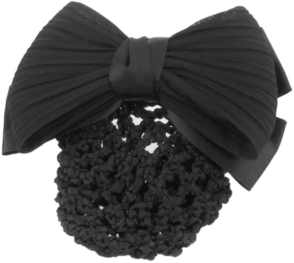 suoryisrty Hair Clip 1 Piece Unique Bow Hair Clip with Net Pocket Hairpin for Office Women Girls Ladies Headwear Accessories Black