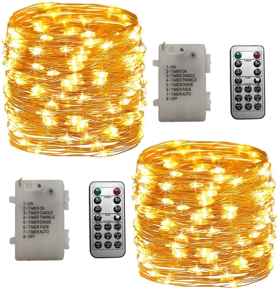Joyathome Fairy Lights Christmas Decor 39 ft 120 Led Battery Operated Lights with Remote Waterproof 8 Modes Twinkle Firely String Lights for Bedroom Party Wedding Home 2 Pack
