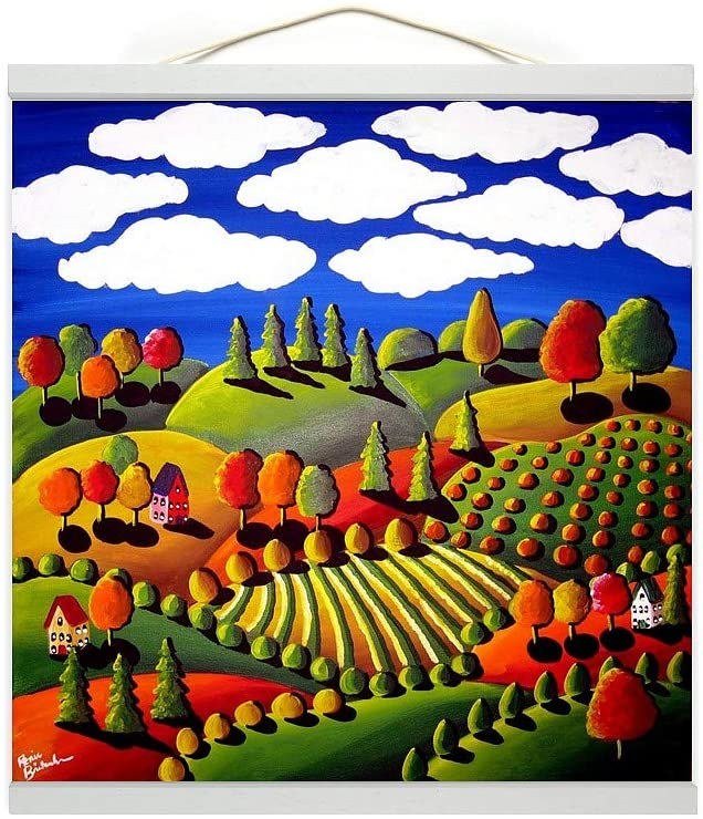Fall Landscape (White Trim) Wall Hanging Canvas Tapestry, Countryside Home Decor, 16