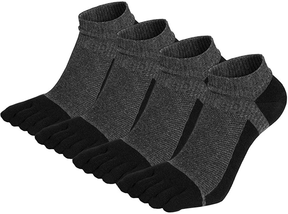 VWELL Men's Toe Socks Crew Cotton Five Fingers Socks Low Cut Running Athletic Socks 4 Pairs Size 7-11