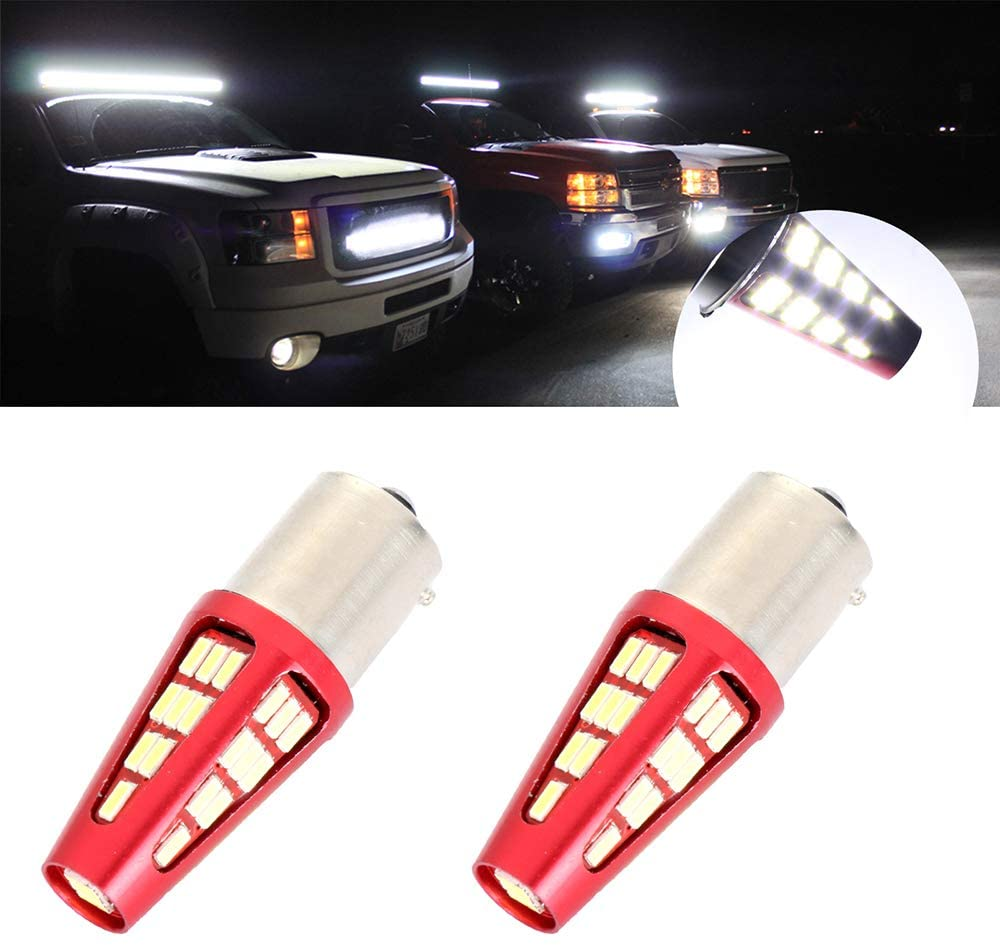 cciyu 1156 Replacement LED Bulbs White 48Chipsets 1141 1073 Light Bulbs with Projector Replacement fit for Tail Brake Light,2Pcs