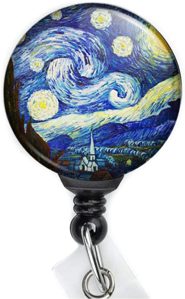 Starry Night Retractable Badge Reel with Swing Clip and 36 Inch Cord