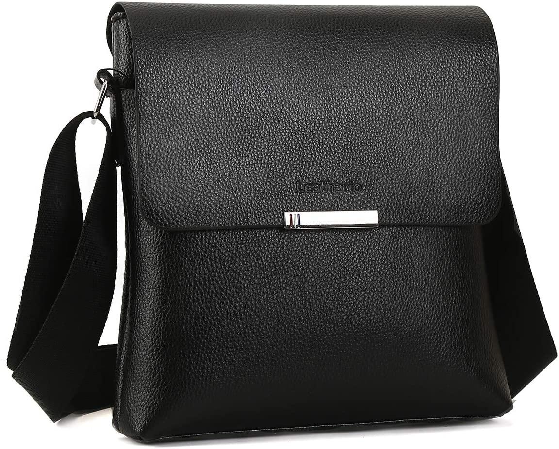 Leathario PU Shoulder Bag Men's Messenger Bag Crossbody Bag Satchel Bag