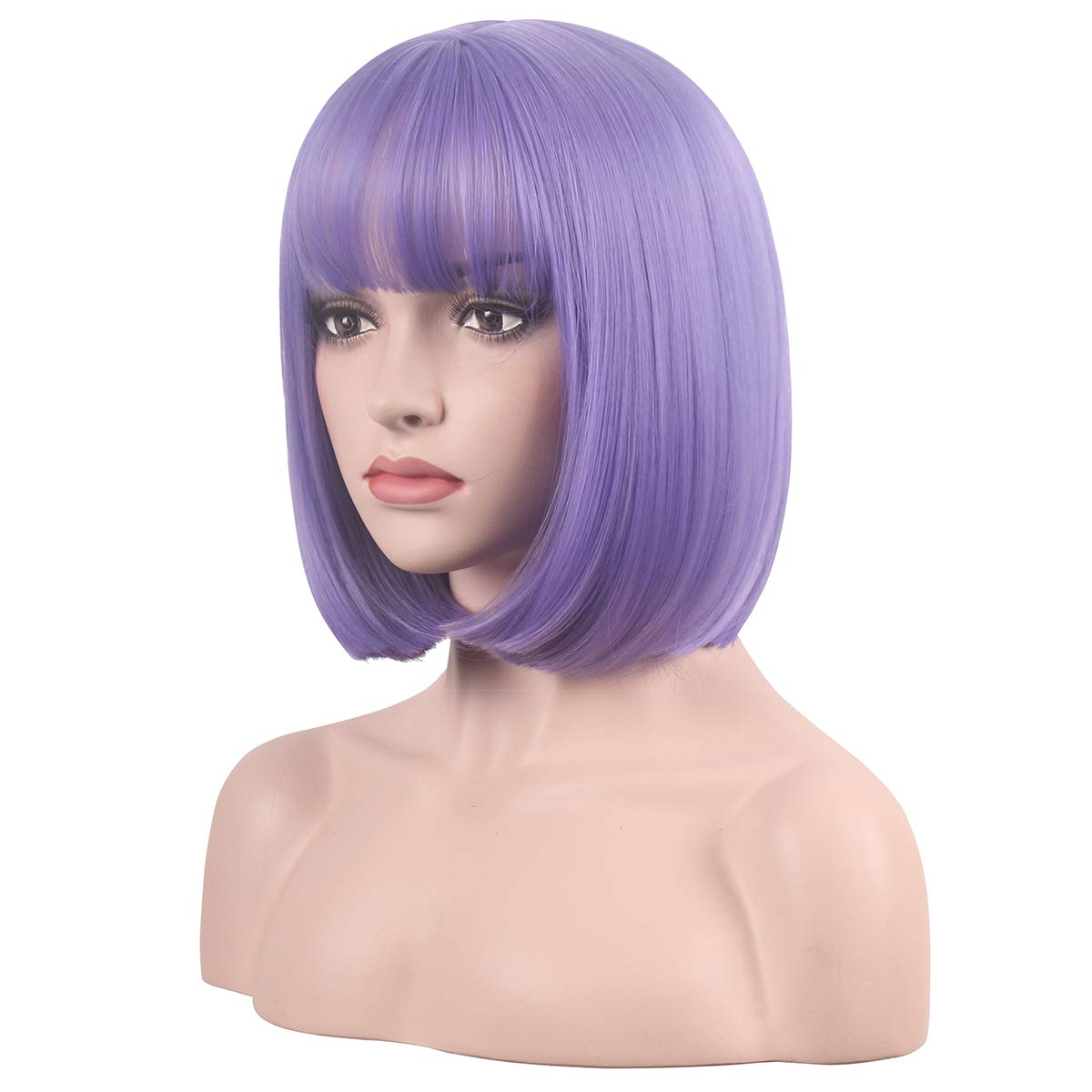 wildcos Short 14 Inches Straight Synthetic Cosplay Wig for Women (purple)