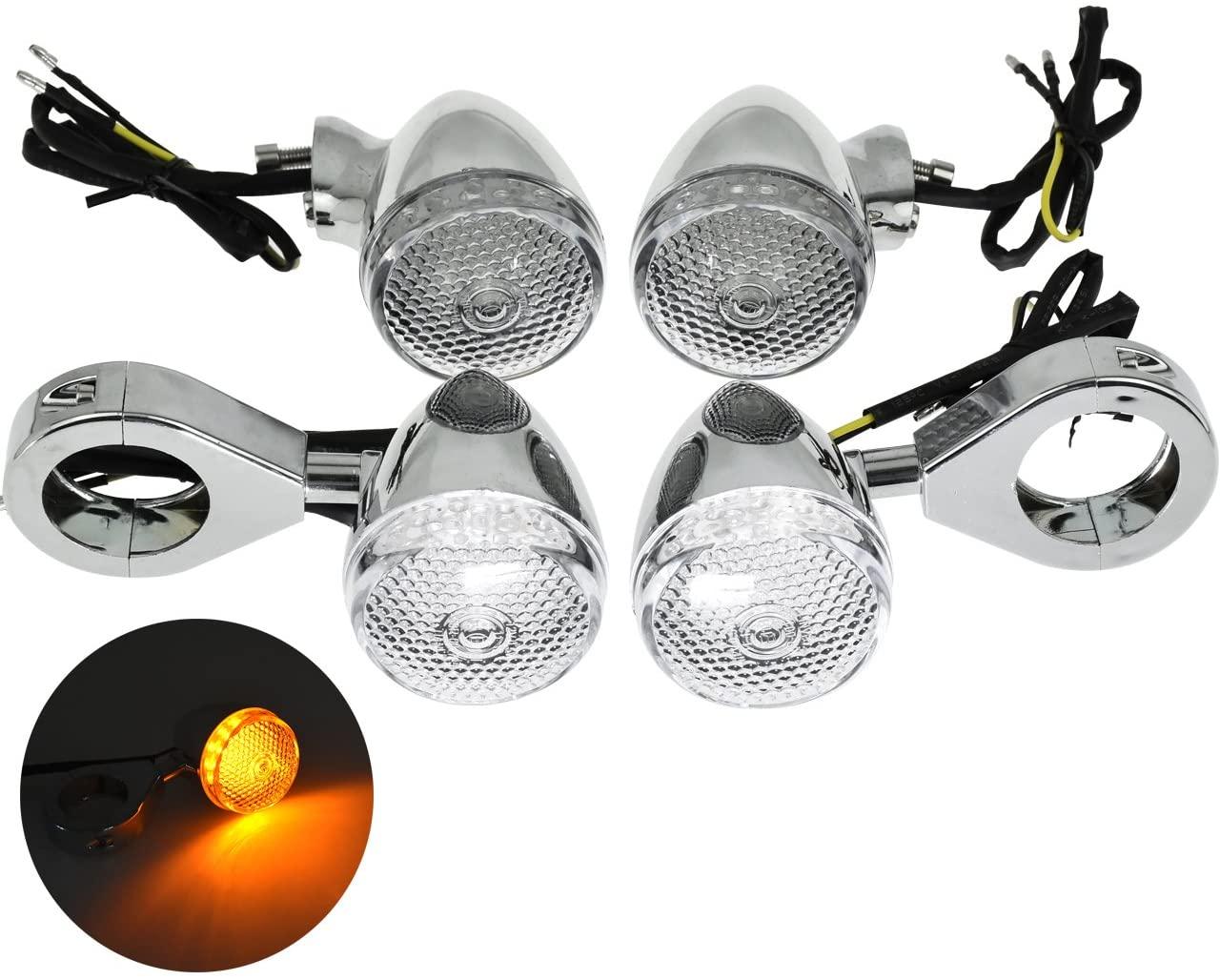 YHMTIVTU LED Motorcycle Turn Signals 39mm Fork Clamp Front Rear Blinker Indicator Light Universal Bullet Turn Signal Lights for Harley Honda Kawasaki Suzuki Yamaha,White Lens Amber Lamp,Chrome