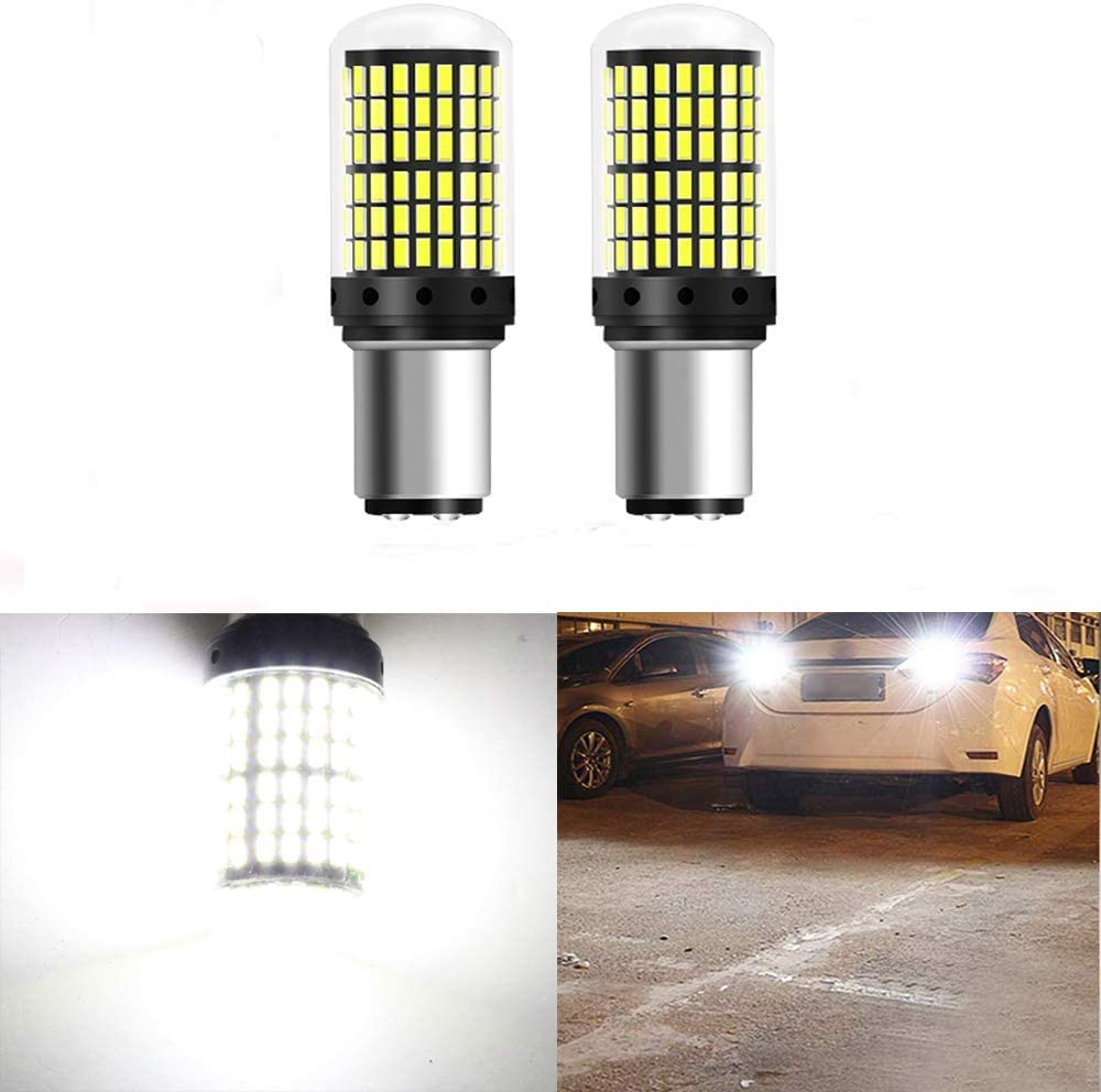 GFJMC 1157 BAY15D Car Backup Lights - 9V-30V Xenon White Extremely Bright 2800 Lumens 3014 144 SMD LED with Projector - Replacement 1016 1034 7528 2057 2357 for Tail Reversing LED Bulb Pack of 2