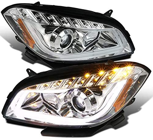 Clear Lens Chrome Bezel Housing DRL LED Light Bar Projector Headlights Made For and Compatible With Malibu 2008-2012