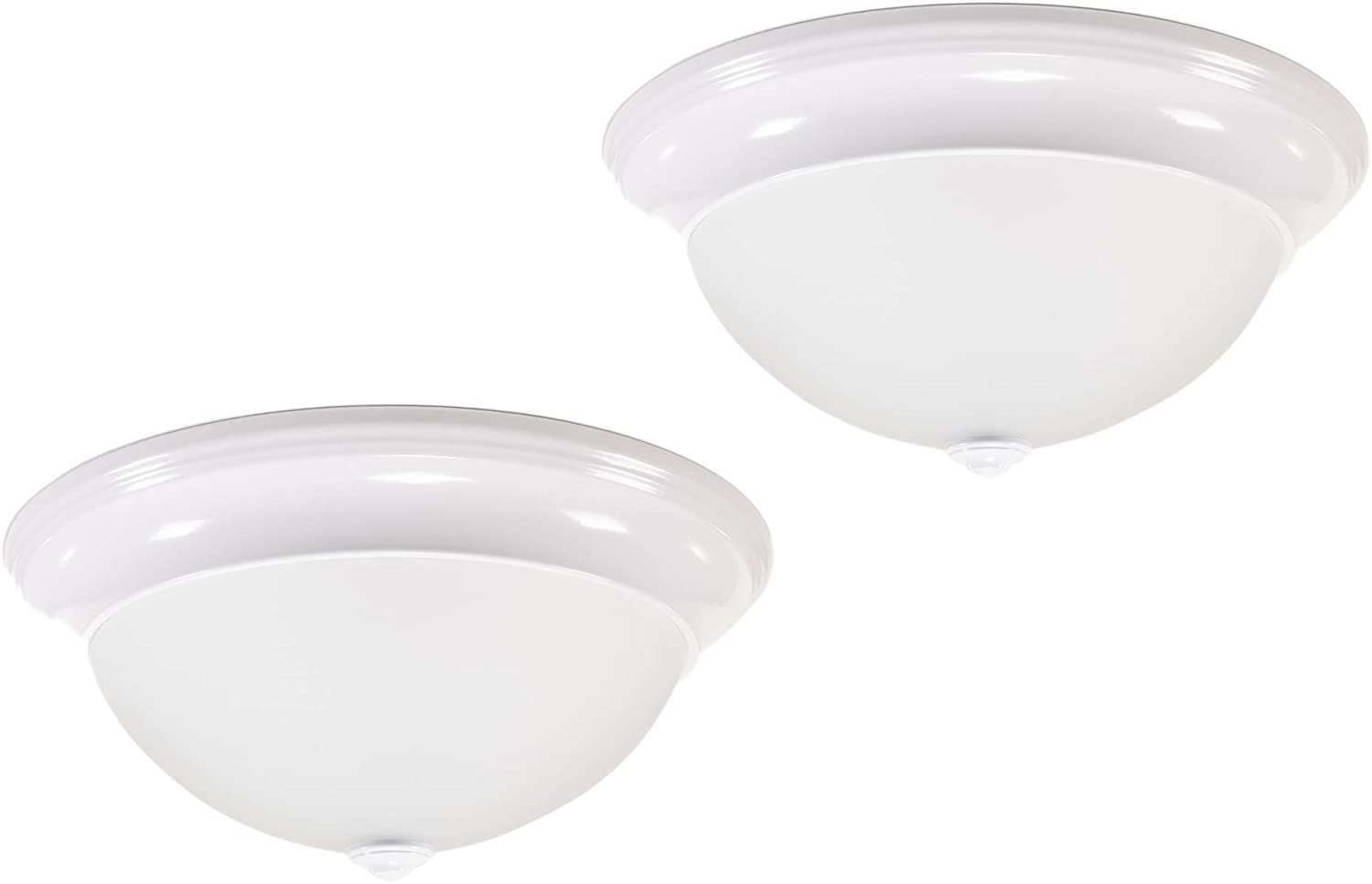 CORAMDEO 13 Inch LED Decorative Flush Mount Ceiling Fixture, Color Select Switch, Built in LED Gives 175W of Light from 26.4W of Power, 1850 Lumen, Dimmable, White Finish with Frosted Glass