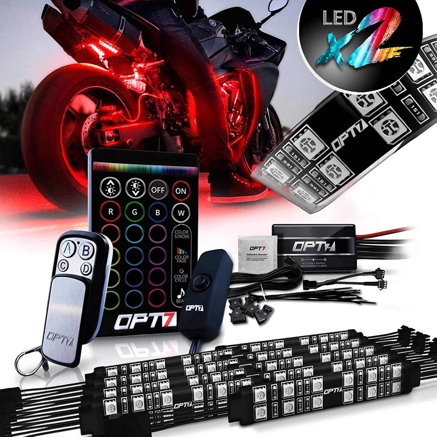 OPT7 Aura Motorcycle LED Light Kit with Wireless Remote Controller | RGB Multi-Color Strips Atmosphere Light w/Switch for Sportsbike, Cruiser, 10pc Double Row