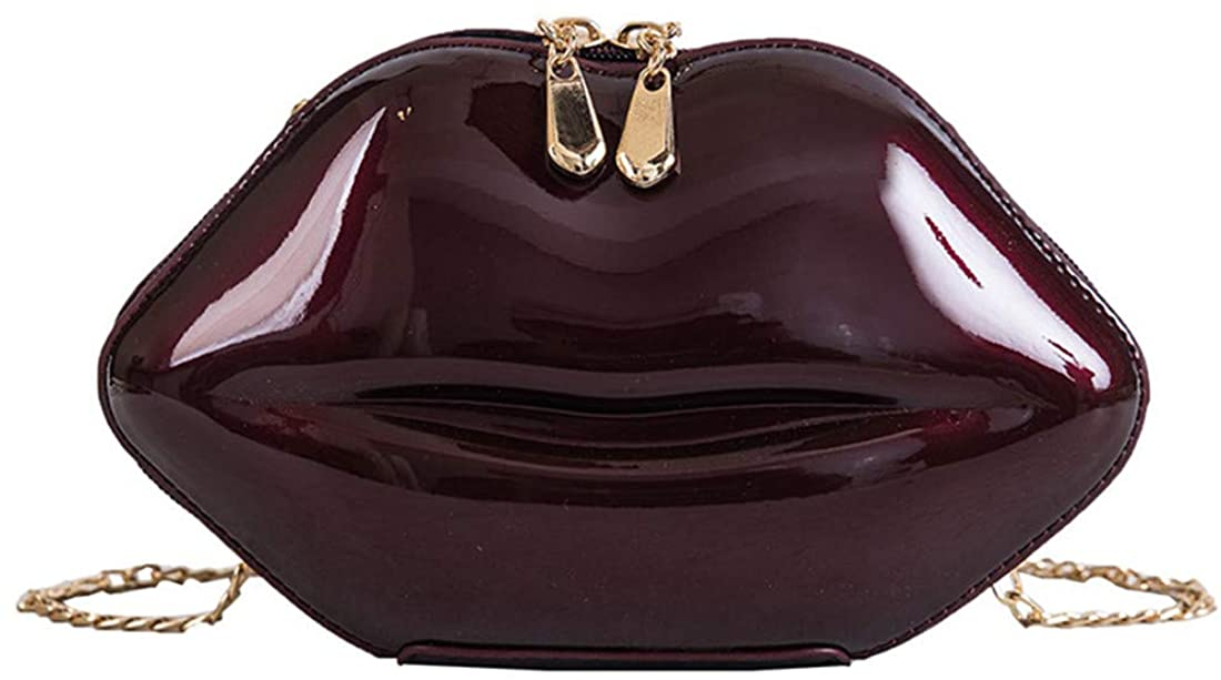 Dreamys Evening Clutch Purses Handbag Leather Lips-shaped Crossbody Bags for Women (Wine red)