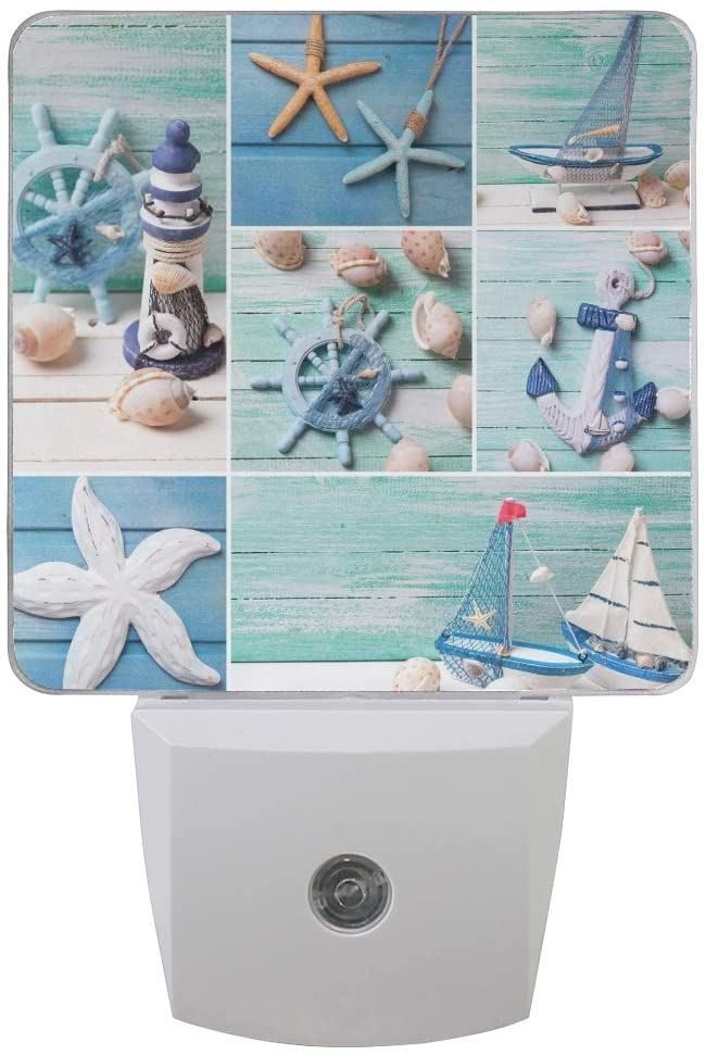 Naanle Set of 2 Collage Marine Sea Life Nautical Theme Decorative Lighthouse Sailing Boat Anchor Seashell Starfish On Wooden Auto Sensor LED Dusk to Dawn Night Light Plug in Indoor for Adults