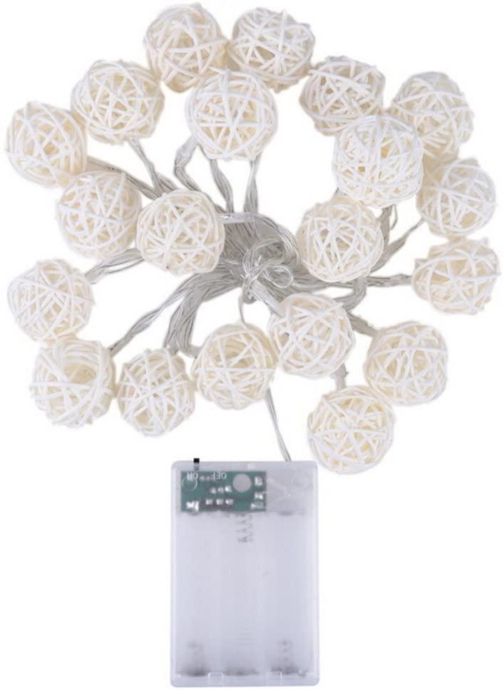 VORCOOL 2.2M Long 20 LED Fairy Light Curtain Light /4cm Cream White Rattan Ball String Light(Battery Operated) for Wedding Home Garden Christmas Party (Warm White)