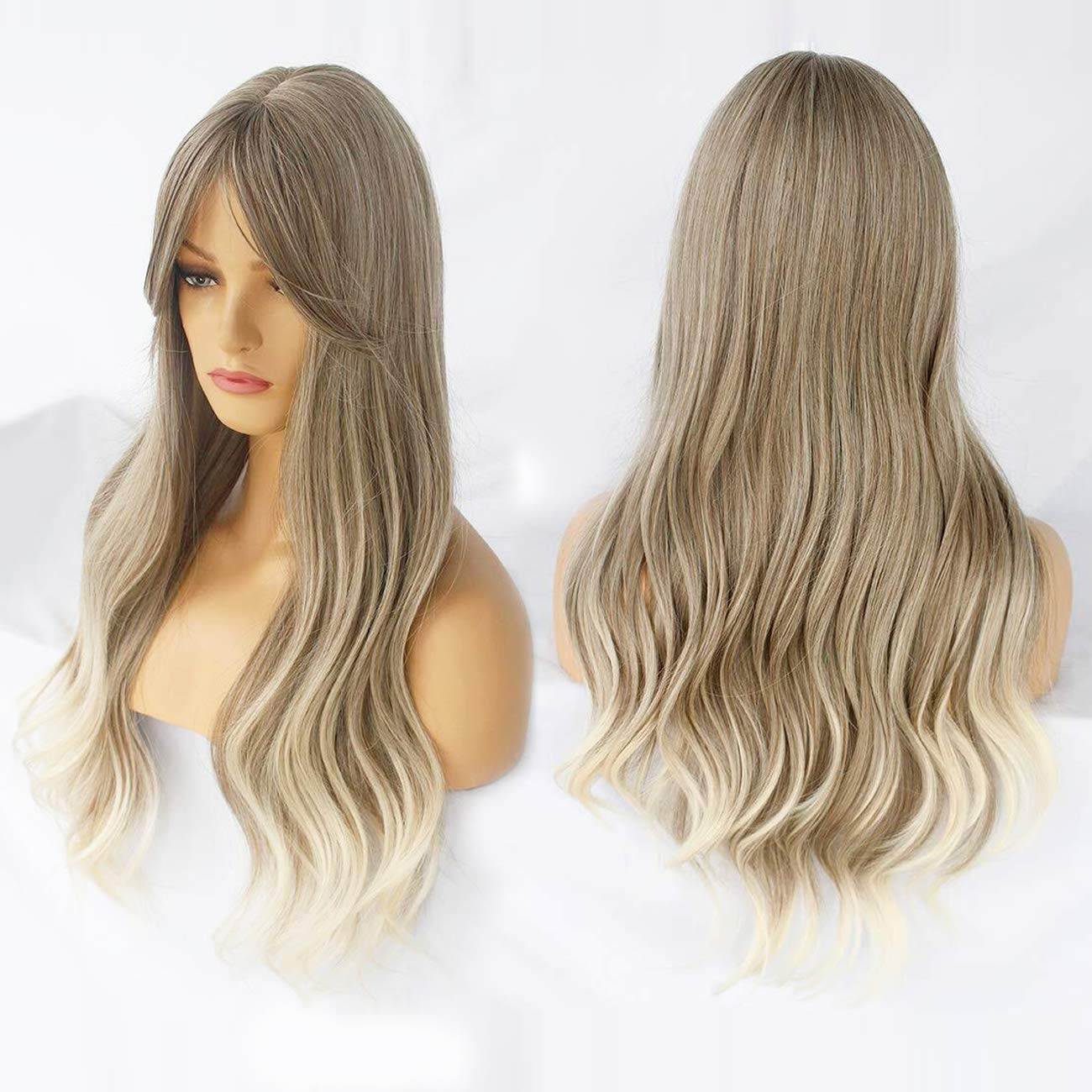 Ebingoo Blonde ombre Wig with bangs for Women Long Kinky Curly Soft Synthetic Heat Resistant Fiber Wigs for daily wear for cosplay