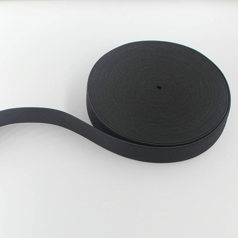 Leelayer 3/4 inch Black Knit Elastic Band by 10 Yard Braided Elastic Band roll Elastic Spool for Wigs, Underwear, Pants, Sportswear, Skirts, DIY Projects