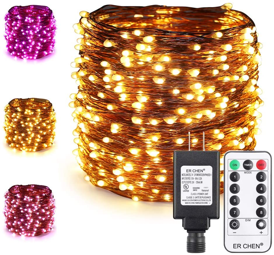 ER CHEN Color Changing LED String Lights Plug in with Remote Timer, 105Ft 300 LEDs Waterproof Copper Wire Dimmable Christmas Fairy Lights for Indoor and Outdoor Decoration-Warm White & Purple