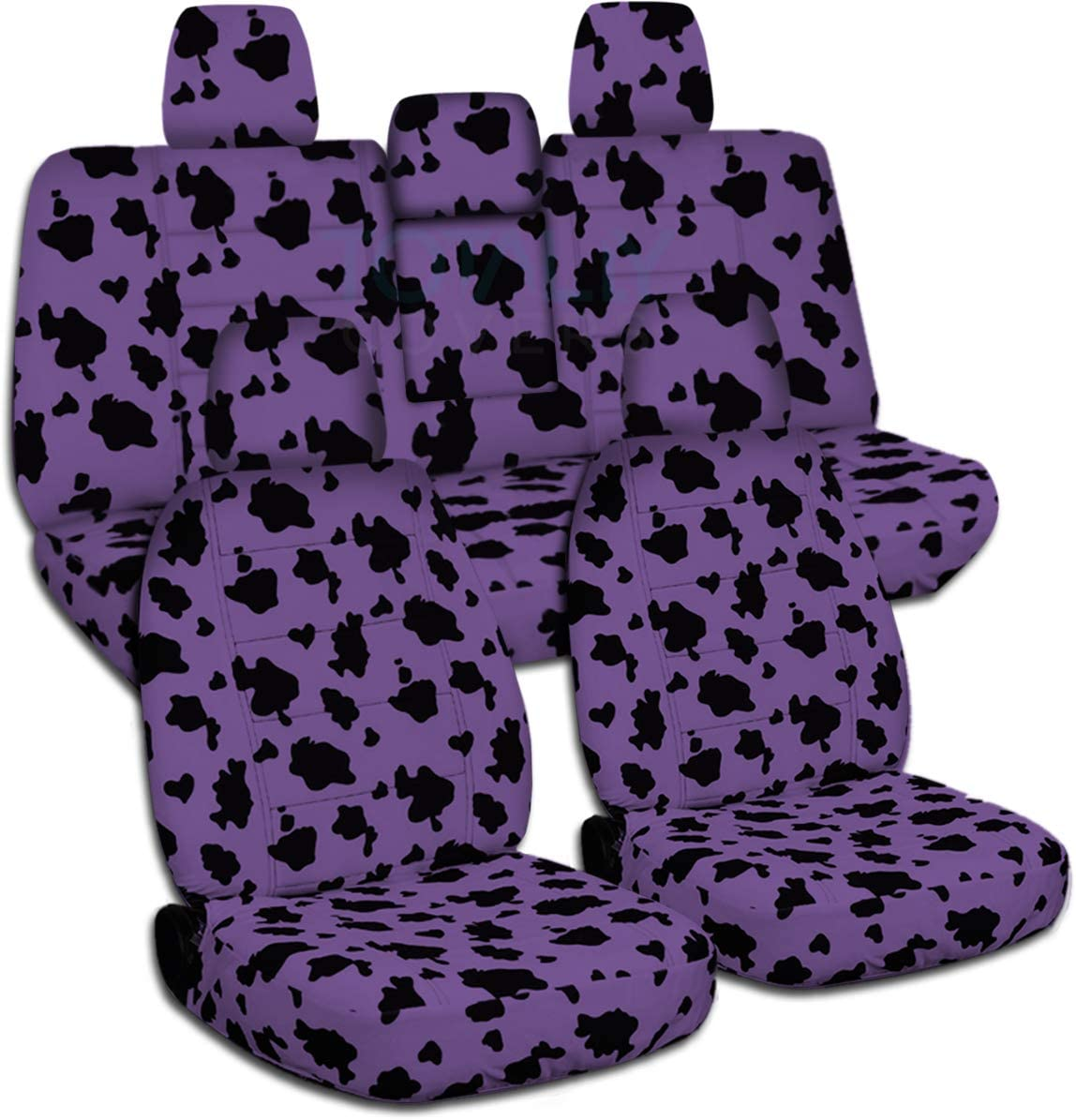 Totally Covers Compatible with 2018-2020 Jeep Wrangler JL Animal Print Seat Covers: Purple Cow - Full Set: Front & Rear (29 Prints) 2-Door/4-Door Solid/Split Bench Back w/wo Armrest/Headrest