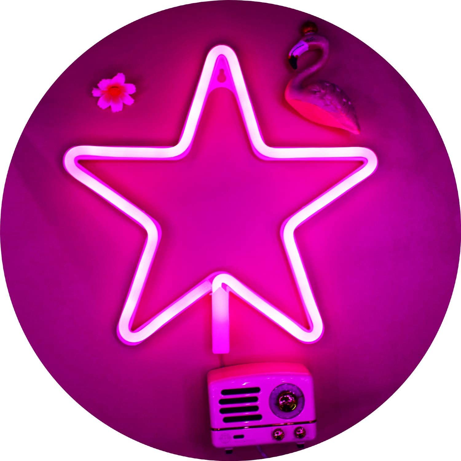 LED Star Neon Signs Light Pink Led Wall Decor, Battery or USB Operated Star Lamp Planet Neon Signs Light up for Home,Kids Room,Bar,Festive Party,Christmas,Wedding(Pink)