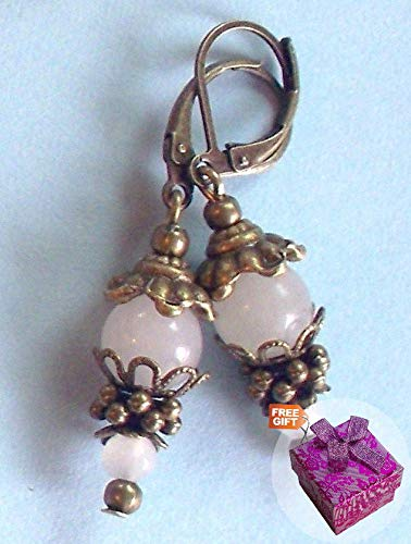 Double White Jade Drop Earring Bronze Leverback Handcrafted Rhinestone Earrings For Women Set + Gift Box For Free