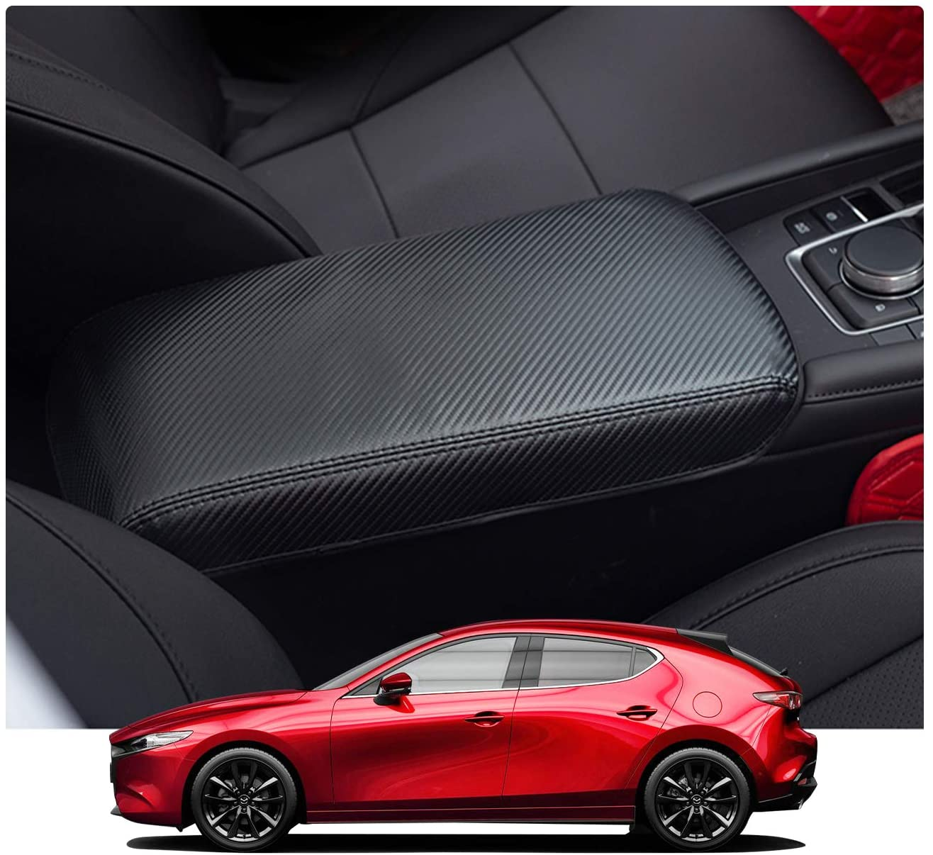 YEE PIN Car Center Armrest Cover Saver Console Lid Cover Fit for Mazda 3 Angkeira 4th 2019 Central Console Armrest Box Scratch Resistance (Black)