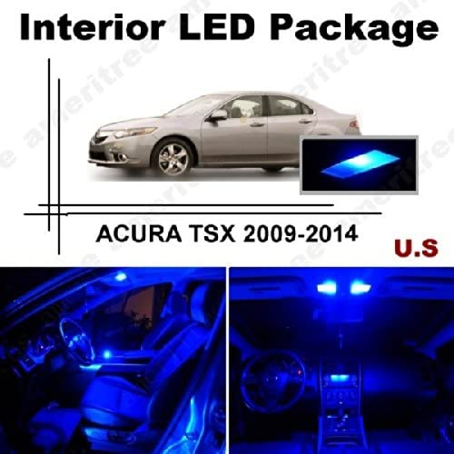 Ameritree Blue LED Lights Interior Package + Blue LED License Plate Kit for Acura TSX 2009-2014 (14 Pieces)