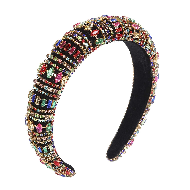 Rhinestone Headband Padded Crystal Hairband - Handmade Rhinestone Headband for Women Diamond Padded Headband Wedding Hair Hoop (Colorful#2)
