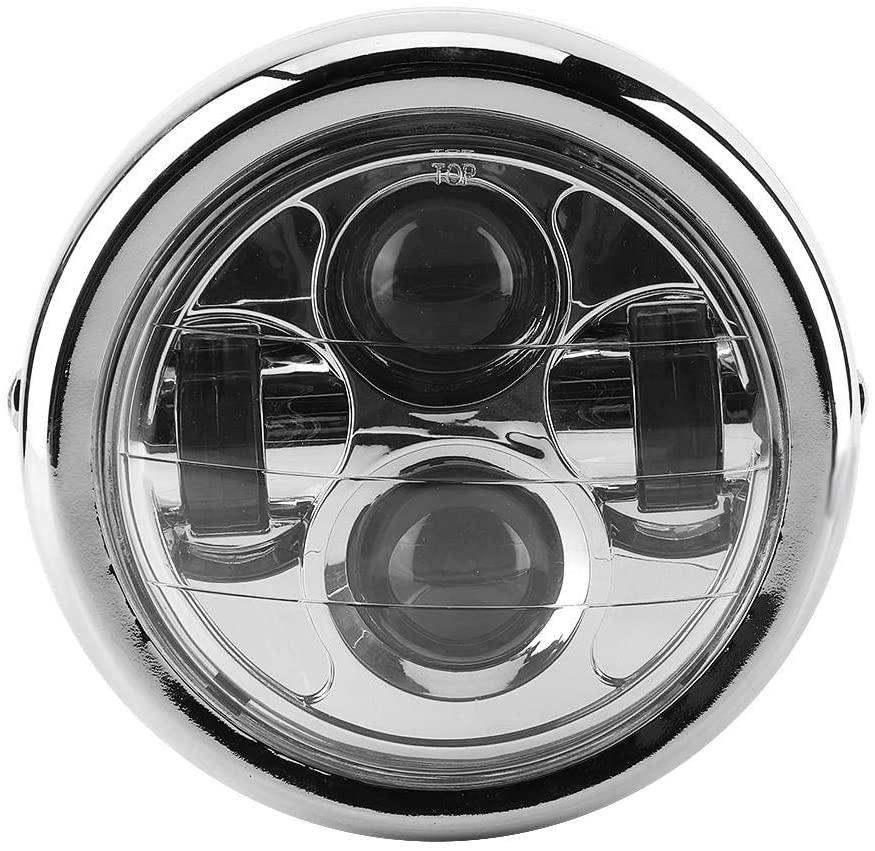 Acouto Motorcycle Headlight,Universal Vintage Aluminum Retro LED Round Headlights Headlamp for 12V Motorcycles