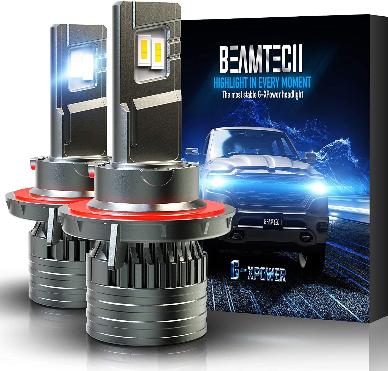 BEAMTECH H13 LED Headlight Bulbs, 9008 G-XP Chips 6500K 12000LM 360 Degree Beam 90W Xenon WhiteConversion Kits of 2