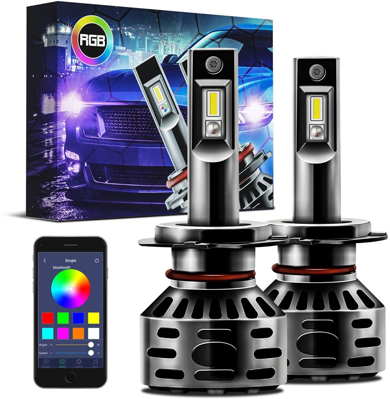 Autolizer H7 RGB Multi Color LED Headlight Conversion Kit Bluetooth App Control Bulb