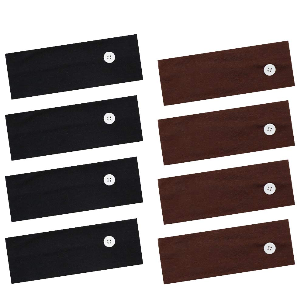 8PCS Headband with Buttons for Face Cover, Button Headband Ear Protection Holder Yoga Hairband Headwrap for Face Cover, Multifunctional Hair Band (Black + Brown)