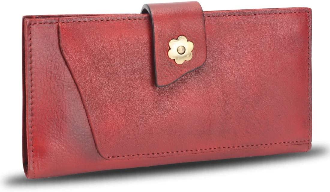 Genuine Leather Wallet for Women Soft Thin Purse Money Case Card Organizer Vintage Cowhide Money Clip (Red)