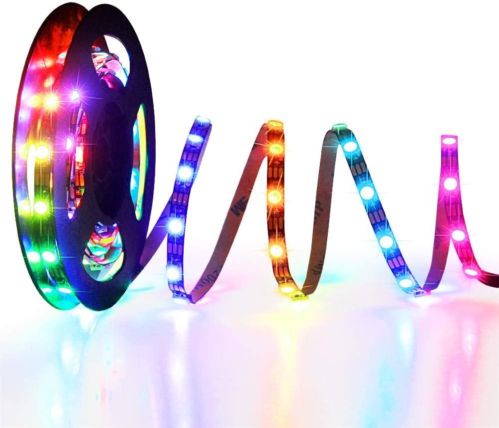 WS2812B LED Strip, ALITOVE 5mm Width Super Narrow RGB Addressable LED Light Strip 6.6ft 120 LEDs Programmable Dream Color Digital LED Pixel Rope Light 5V for Home Theater Bedroom Bar Decor Lighting