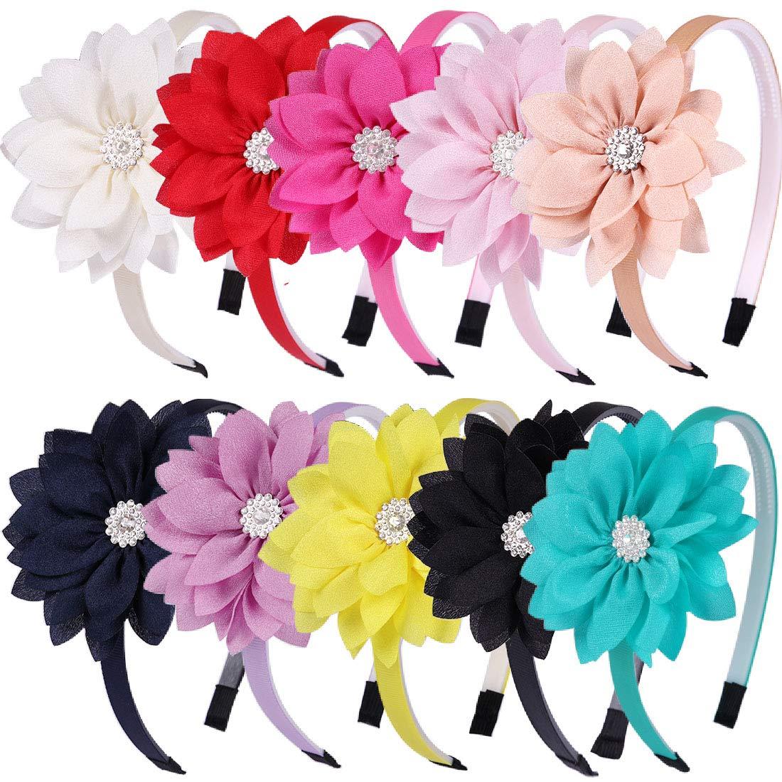 Big Bows Headband Grosgrain Ribbon Children Bow Headbands Little Girl Flower Sweet Kids Head Hoop-10 colors