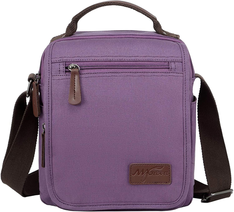 mygreen Small Canvas Crossbody Shoulder Bag Messenger Bag Work Bag