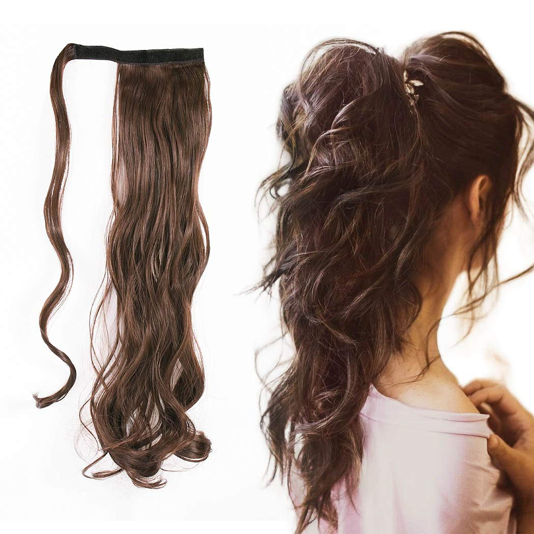 Gangel Ponytail Extension Curly Wavy Pony Tails Wrap Around Hairpiece Claw Synbthetic Clip in Long Hair Extensions Magic PasteHair Wraps Hair Pony Tail for Women(Pack of 1) (Brown(4#))