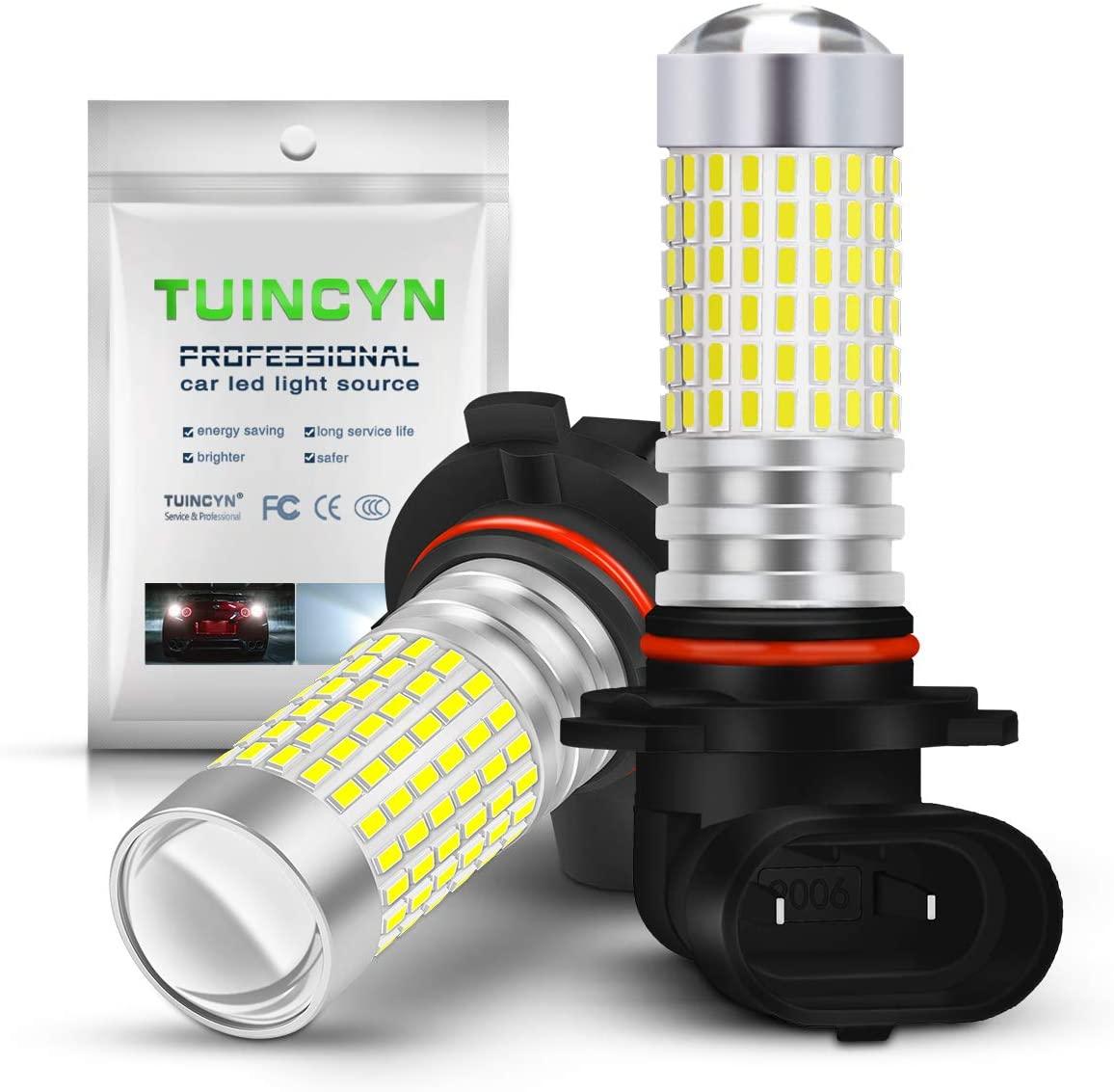 TUINCYN 9006 HB4 LED Fog Light Bulb Xenon White 6000K 3014 Chipsets 144SMD Super Bright DRL Daytime Running Light Driving Lamp DC 12V-24V(Pack of 2)