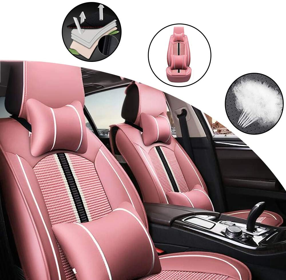 All Weather Custom Fit Seat Covers for Jeep Cherokee Renegade 5-Seat Full Protection Waterproof Car Seat Covers Ultra Comfort with Headrest and Lumbar Cushion Luxury Package Stripes Pink Full Set