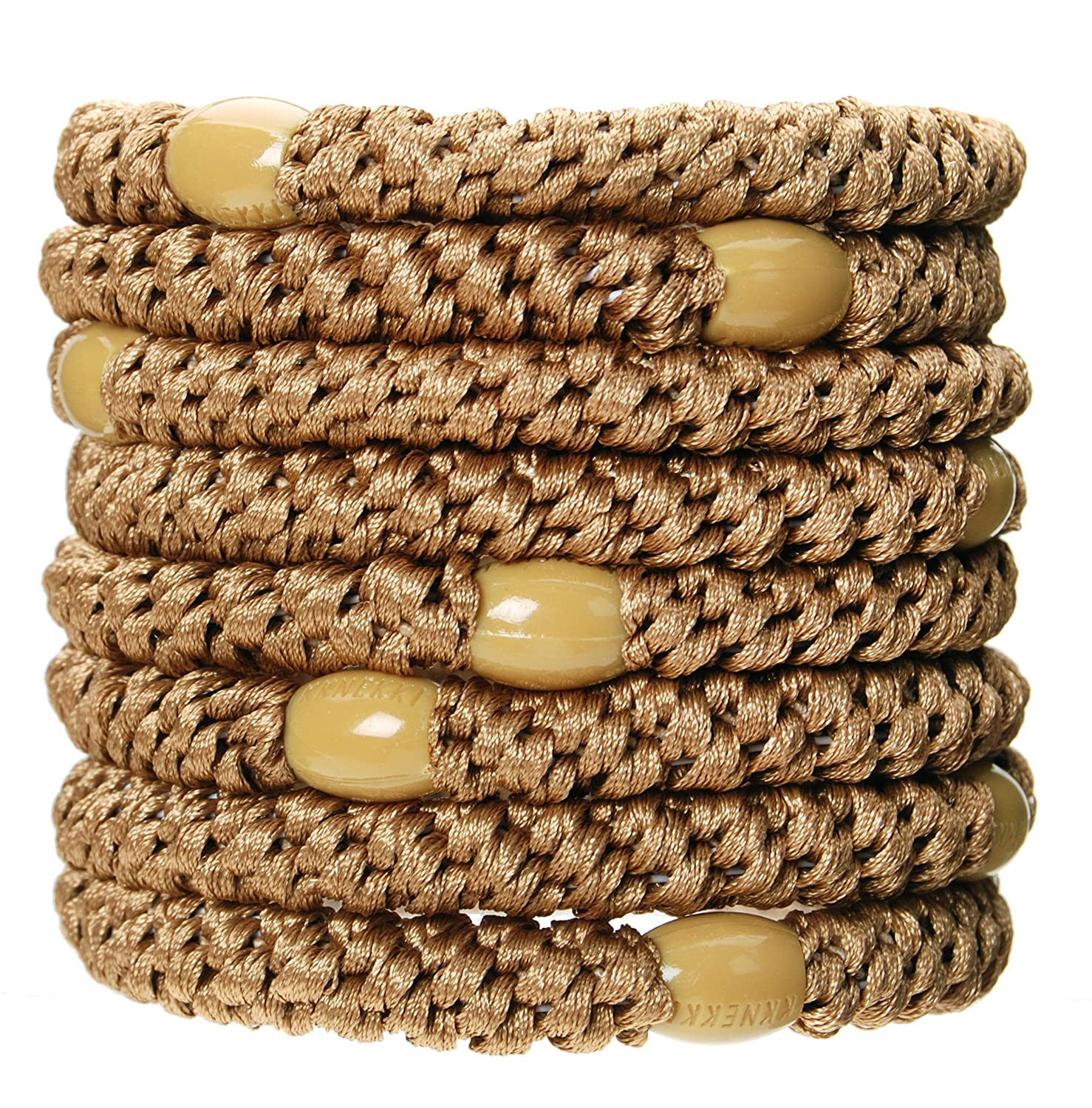 L. Erickson Grab & Go Ponytail Holders, Sand, Set of Eight - Exceptionally Secure with Gentle Hold